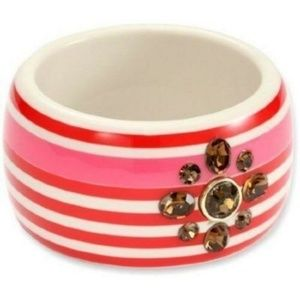 JUICY COUTURE Red STRIPED Oversized Large BANGLE